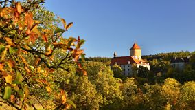 Beautiful Autumn Landscape with Veveri Castle. Natural colorful scenery with sunset. Brno dam-Czech Republic-Europe. Beautiful Autumn Landscape with Veveri Stock Photography