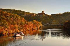 Beautiful Autumn Landscape with Veveri Castle. Natural colorful scenery with sunset. Brno dam-Czech Republic-Europe. Beautiful Autumn Landscape with Veveri Stock Photos