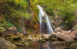 Beautiful autumn landscape with waterfall Stock Photos