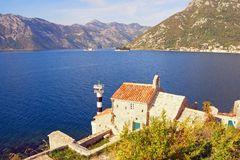 Beautiful autumn Mediterranean landscape. Montenegro, Bay of Kotor. View of Church of Our Lady of the Angels and two small islands. Beautiful autumn royalty free stock photography
