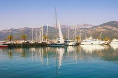 Beautiful autumn Mediterranean landscape. View of yacht marina of Porto Montenegro . Montenegro, Bay of Kotor, Tivat city royalty free stock photo