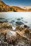 Beautiful Autumn Morning At Blea Tsrn With Snow On Langdale Pike Mountains. A photograph taken at Blea Tarn in the Lake District, UK. The photograph was taken royalty free stock images