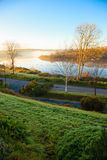 Beautiful autumn morning fog at the river  Co.Cork, Ireland. Stock Photography
