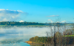 Beautiful autumn morning fog at the river  Co.Cork, Ireland. Stock Photo