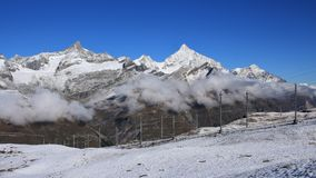 Beautiful autumn morning on the Gornergrat stock photography