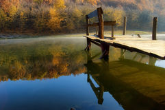 Beautiful autumn morning at the lake. Near a colorful orange forest Royalty Free Stock Images