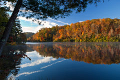 Beautiful autumn morning with reflecting lake and trees Royalty Free Stock Images