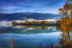 Beautiful autumn morning at the Thompson river, British Columbia, Canada Royalty Free Stock Image