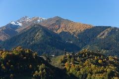 Beautiful autumn mountain landscape in Svaneti. Georgia Royalty Free Stock Photos