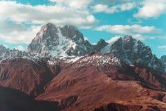 Beautiful autumn mountain landscape in Svaneti. Georgia. Toned Stock Photo