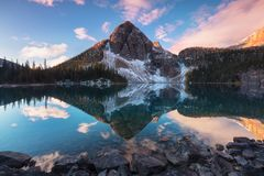 Beautiful autumn mountain views to the Egypt Lake in Banff National Park in the Rocky Mountains of Alberta Canada. Sunrise royalty free stock photo