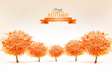 Beautiful autumn nature background with trees. Vector Stock Photography