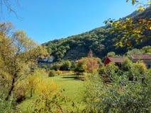 Beautiful autumn nature Park in the Boka, Montenegro royalty free stock photo