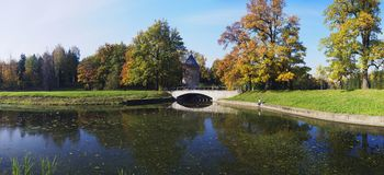 Beautiful autumn panorama. At Pavlovsk park, Russia royalty free stock image