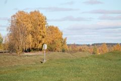Autumn. Beautiful  autumn panorama on green hill with golden birch tree in sunny day Royalty Free Stock Photography