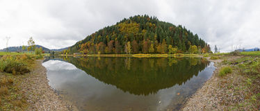 Beautiful Autumn panorama reflection in Black Forest, Germany, Europe Royalty Free Stock Photography