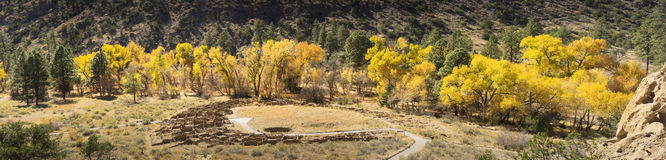 Beautiful Autumn Panoramic Bandalier National Park Near Santa Fe Stock Photos
