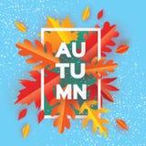 Beautiful Autumn Paper Cut Leaves. Hello Autumn. September flyer template. Stock Photo