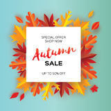 Beautiful Autumn paper cut leaves. Sale. September flyer template. Square frame. Space for text. Origami Foliage. Maple. Oak. Fall poster background. Vector Royalty Free Stock Photos
