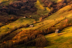 A beautiful autumn rural landscape with lonely houses, sunny hills and small horse. Carpathian rolling landscape on sunset in autu Royalty Free Stock Images