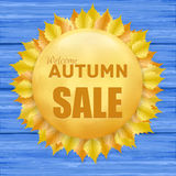 Beautiful autumn sale frame with yellow leaves Royalty Free Stock Photography