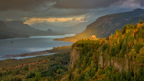 Beautiful Autumn sceen on Columbia river at sunset Stock Photography