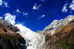 Beautiful autumn scenery in Hailuogou glaciers park Stock Photos