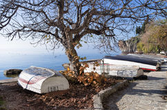 Beautiful autumn scenery in lake Ohrid Stock Images