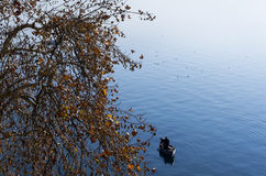 Beautiful autumn scenery in lake Ohrid Royalty Free Stock Image