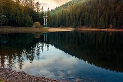 Beautiful autumn scenery of a lake. In Synevyr national park, Ukraine. wonderful calm evening royalty free stock photo