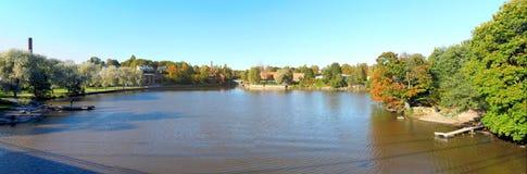 Beautiful autumn scenery panorama. Beautiful fall colors in Helsinki, Finland royalty free stock images