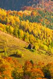 Beautiful autumn scenery with traditional straw roof house in Ap. Useni mountains, Transylvania Stock Photos