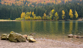 Beautiful autumn scenery, volcanic lake and forest Royalty Free Stock Photos