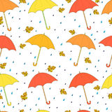 Beautiful, autumn seamless pattern, bright umbrellas, yellow ora Royalty Free Stock Image