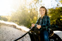 In a beautiful Autumn season of a young girl and horse royalty free stock images