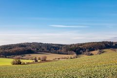 Beautiful autumn or spring countryside with fields and forest royalty free stock photos