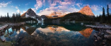 Beautiful autumn and spring view to the Egypt lake in Banff National park in the Rocky mountains in the Alberta, Canada. stock image