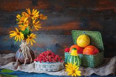 Beautiful autumn still life from different pumpkins in a wicker basket, yellow daisies in a clay ceramic brown ethnic vase on wood royalty free stock photo