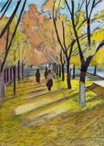 Beautiful autumn street full of fallen colorful leaves lit by the sun royalty free illustration