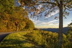 Sunrise on The Blue Ridge Parkway. A beautiful autumn sunrise along the Blue Ridge Parkway in North Carolina royalty free stock photos