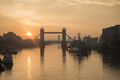 Beautiful Autumn sunrise landscape of Tower Bridge and River Tha Royalty Free Stock Photography