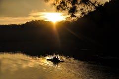 Beautiful autumn sunrise at the Pang-Oung in Maehongson, Thailan Stock Photography