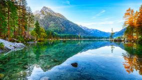 Beautiful autumn sunrise scene with trees near turquoise water o. Fantastic autumn sunrise of Hintersee lake. Beautiful scene of trees near turquoise water of royalty free stock photos