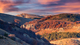 Beautiful autumn sunset in the Crimea mountains. Beautiful autumn sunset in Crimea mountains Royalty Free Stock Photos