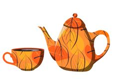 Beautiful autumn teapot and cup with orange leaves Stock Photos