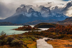 Beautiful autumn in Torres del Paine, Chile Royalty Free Stock Photos