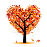 Beautiful autumn tree heart shape for your design royalty free illustration