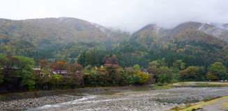 Beautiful autumn trees along the river of Shirakawa village Royalty Free Stock Images