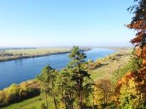 Beautiful autumn trees near Nemunas river, Lithuania royalty free stock photos