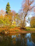 Colorful trees near river in autumn, Lithuania Stock Photography